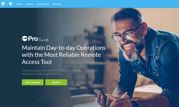LogMeIn Pro splash page for Best Remote Access Software